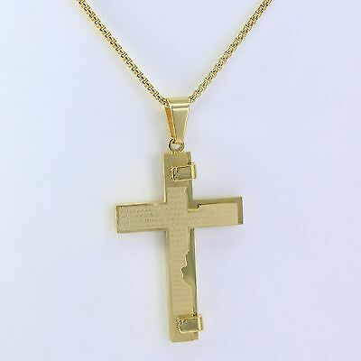 "18K Gold 316L Stainless Steel Big Jesus Cross Pendant 20"" Necklace Box Chain"