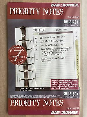 Day Runner Priority Notes 7 Ring Binder Refill 88194 5.5 x 8.5 Inches