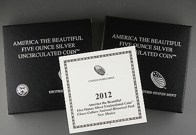 2012 P Chaco America the Beautiful 5 oz Silver Coin NQ1 Collector Version +OGP