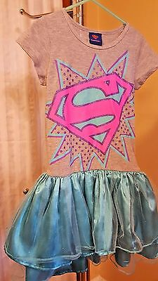 Girls Supergirl blue and pink tutu dress size 7 8 Medium M