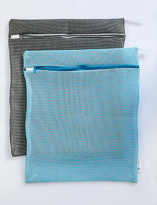 Wash Bags Double Lined Durable Wash Bags 2 pieces Blue & Grey
