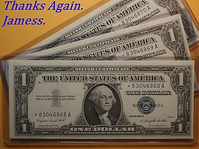 (#333) 3 Consecutive Uncirculated 1957 A *Star* Blue Seal Silver Certificates