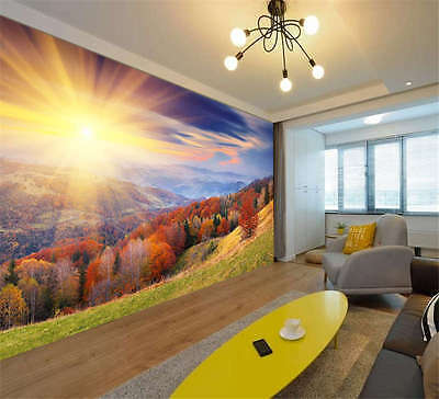 Autumn Forest Sunrise Full Wall Mural Photo Wallpaper Print Kids Home 3D Decal