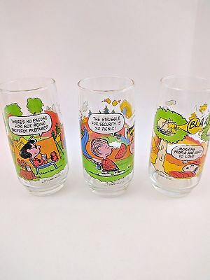 McDonald's Camp Snoopy PEANUTS Collection Glasses Set Of 3 Charlie Brown