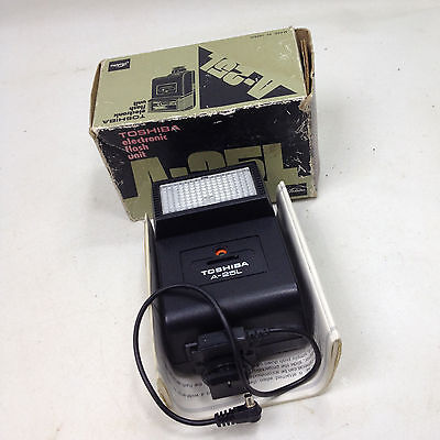 Vintage TOSHIBA Electronic FLASH Unit A-25L With Original Box & Instructions
