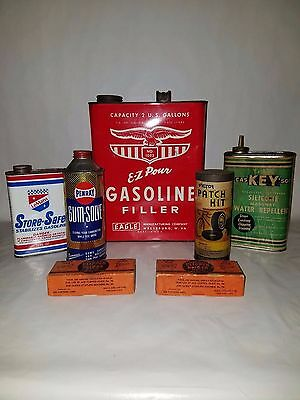 Lot of Vintage Advertising Gas & Oil Cans Eagle, Lemans Store-Safe, and more