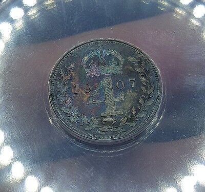 Toned 1907 Great Britain Maundy 4 Pence | ANACS MS60 Details - Scratched