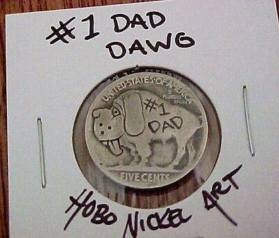 #1 DAD Big Dawg Father's Day Gift Carved Buffalo Hobo Nickel coin ohns 1304
