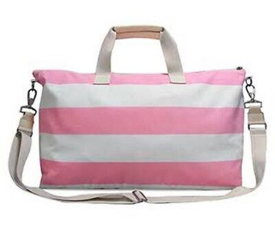 NEW Women's Getaway Weekender Duffle Bag Pink and White Stripes