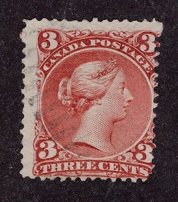 Canada used #25b 3c  red   LARGE QUEEN ISSUE 1868 F