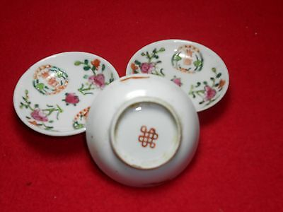 Rare 3 Fine Chinese Famille Rose Small Plates , Endless Knot Mark 19th Century.
