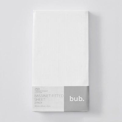 NEW 2 Pack Fitted Bassinette Sheets - White