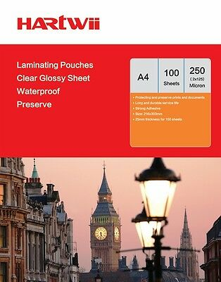 Hartwiis 100 Sheet A4  Glossy Clear Laminating Pouches Film 250 Micron 303x216mm