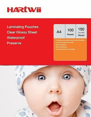 Hartwiis 100 Sheet A4  Glossy Transparent Laminating Pouches Film 150 Micron AU