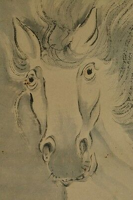 Hanging Scroll Horse Japanese Painting Japan Asian Picture old Art ink Pic d43