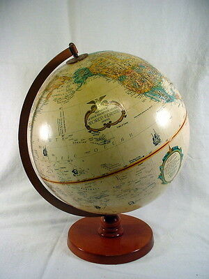 Vintage REPLOGLE 12 INCH DIAMETER GLOBE World Classic Series on Wooden Base