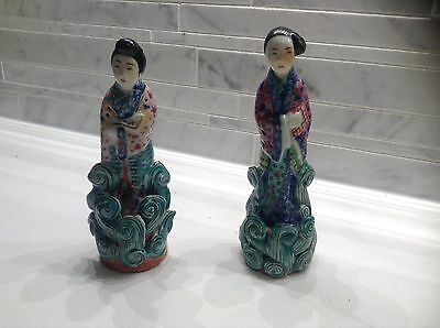 "Chinese Antique Porcelain Figurines Two Women 6"" Tall w Marks"