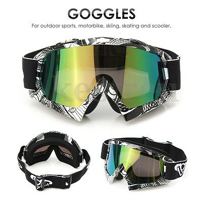 Graffiti Motocross Motorbike Goggles Anti-fog Dirt Bike Snow Winter UV Lens PC