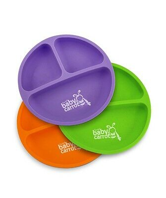 Sweet Baby Carrot Toddler Divided Plates, Soft, Unbreakable, Safe, BPA Free, Fun