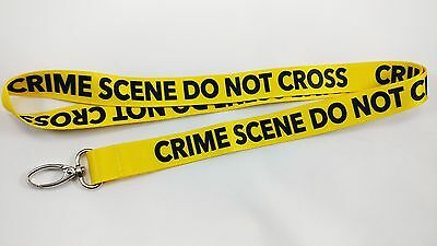 Crime Scene Do Not Cross Lanyard/Keychain, New,FAST Free Shipping