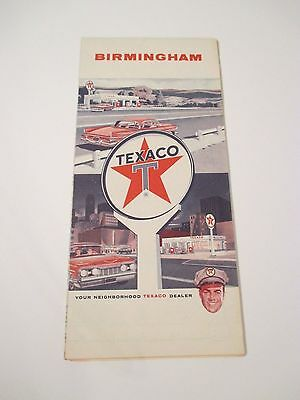 Vintage 1960's TEXACO Birmingham Alabama Oil Gas Service Station Road Map