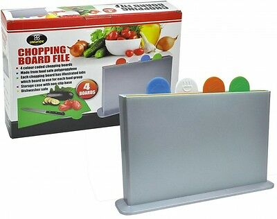 Multi Purpose Chopping Cutting Board 4 Colour Coded W/ Holder Hygienic
