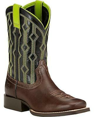 Ariat Kids Live Wire Lime/Chocolate/Black Wide Square Toe Boots