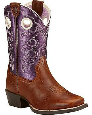 Ariat Girls Crossfire Western Purple Square Toe Boots