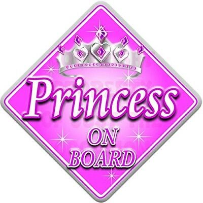 PINK & SILVER PRINCESS Baby on Board Car Window Sign. Shipping Included