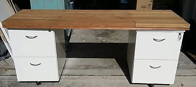 2 Filing Cabinets and Wooden Desk Top