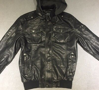 Men's Hooded Black PU Leather Jacket M 38-40 Excellent Used Condition