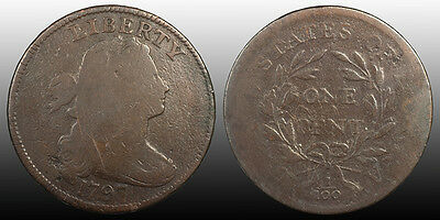 United States Draped Bust 1797 Cent, Reverse of 1795, Gripped Edge