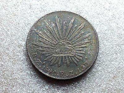 1890 Zs FZ Mexico Cap & Rays 8 Reales Nice Toning Great Condition