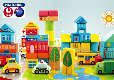 Onshine Traffic Wooden Creative Puzzle Kids Educational Toy Building 62Pcs