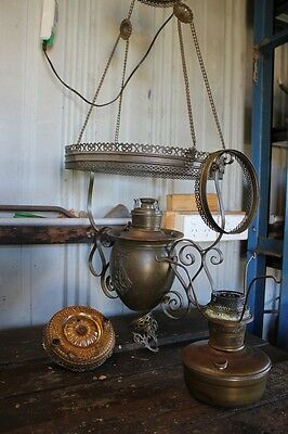 Antique Hanging Oil Lamp Kerosene Lantern Aladdin Type B Miller Juno Brass