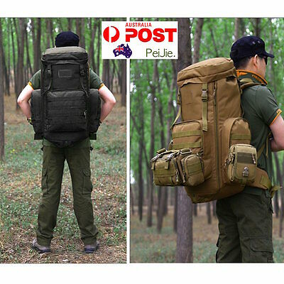 70-85L Large Capacity Tactical Travel Backpack MOLLE Hiking Rucksack Outdoor Tra