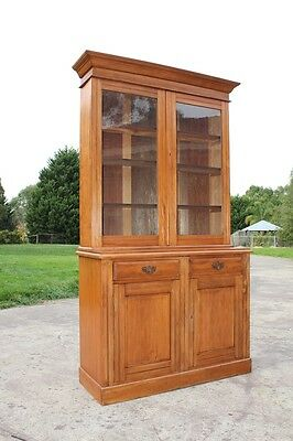 Antique 2 Height Bookcase Glass Top Display Cabinet Solid Timber Victorian