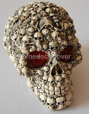 LED Homosapiens Skull Statue Human Skeleton Head Halloween Decor Beige UK