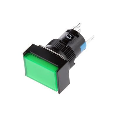 Square Shape LED Illuminated Push Button DC 12V Switch for Contactor Green