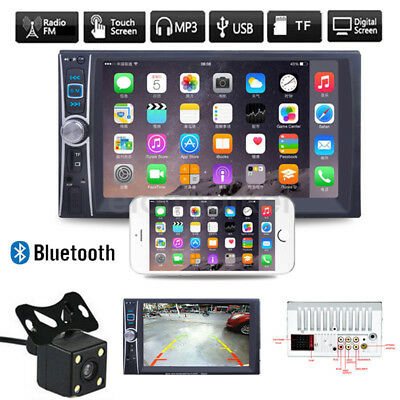 Car Stereo Audio Double 2 DIN Bluetooth Touch MP3 Player USB FM Radio + Camera