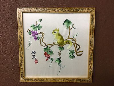 Oriental Silk Embroidery Of Squirrel