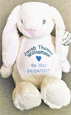 mumbles personalised bunny rabbit teddy. baby gift. embroidered name. christenin