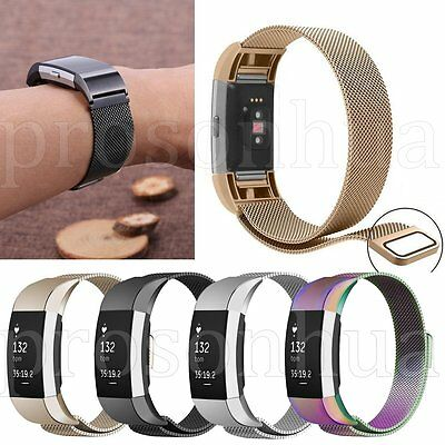 Magnetic Milanese Loop Stainless Steel Waist Watch Band Strap For Fitbit Charge2