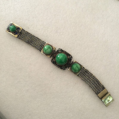 antique The ancient Chinese gem fine silver bracelet