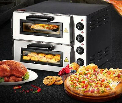 "CE 220V 16"" Double Electric Pizza Oven Commercial Ceramic Stone Free shipping"