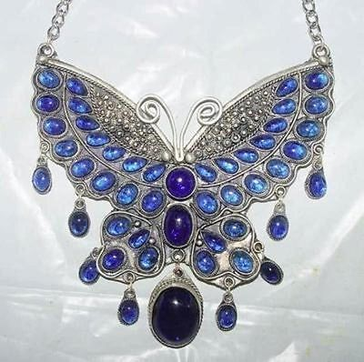 Fancy tibet silver inlay blue Jade Butterfly Necklace