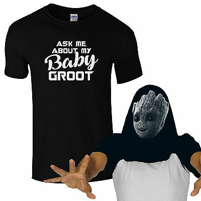 Ask Me About My Baby Groot T-Shirt - Cute Guardians of Galaxy Kids Mens Flip Top
