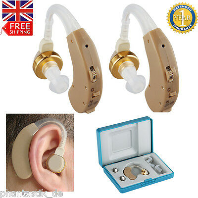 2Pcs Mini Digital Hearing Aid Behind the Ear in Sound Voice Amplifier Adjustable