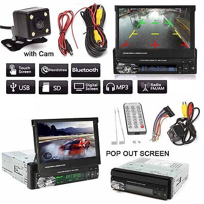 "7"" Car Stereo 1DIN Autoradio Bluetooth Touch Screen MP5 Player AUX USB SD FM"