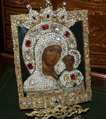 Antique Russian Icon with Embroidered Pearls Riza, 19 c